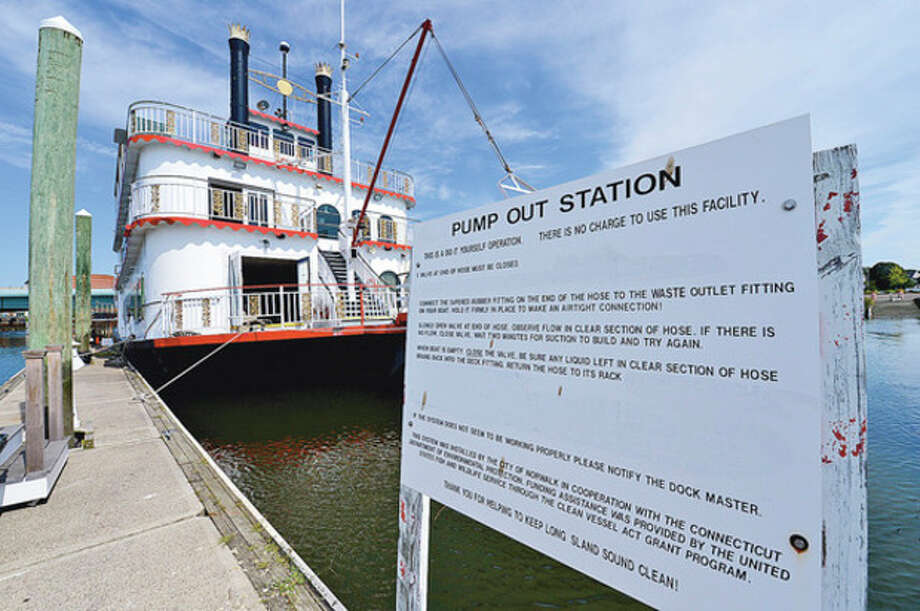 """Norwalk Harbor Management Commission will review Wednesday night the request from city to state to """"allow for unrestricted use by creational, municipal and commercial vessels"""" at visitors docks at Veterans Memorial Park; request could be part of finding new home for Island Belle.Hour photo / Erik Trautmann / (C)2012, The Hour Newspapers, all rights reserved"""