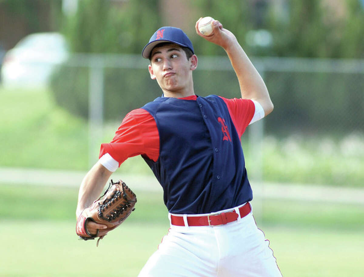 Hour photo/John Nash Norwalk Babe Ruth 14-year-old All-Star pitcher Max Berman fires to the plate during Monday's District 2 championship game at Brien McMahon High School in Norwalk. Berman allowed two hits in six innings as Norwalk won the title with a 7-1 win over Trumbull.