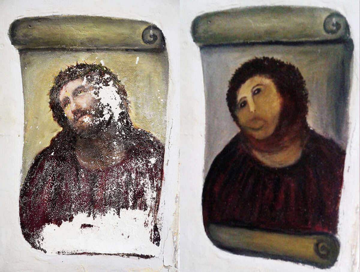 This combination of two undated handout photos made available by the Centro de estudios Borjanos shows the 20th century Ecce Homo-style fresco of Christ before (left) and after (right) an elderly amateur artist Celia Gimenez, 80, took it upon herself to restore it in the church of the northern Spanish agricultural town of Borja. The incident made national news and was an Internet trending topic Thursday Aug 23 2012 with some Twitter users dubbing it ?'Ecce Mono?', meaning ?'Behold the Monkey?' instead of ?'Behold Man.?' (AP Photo/Centro de estudios Borjanos)