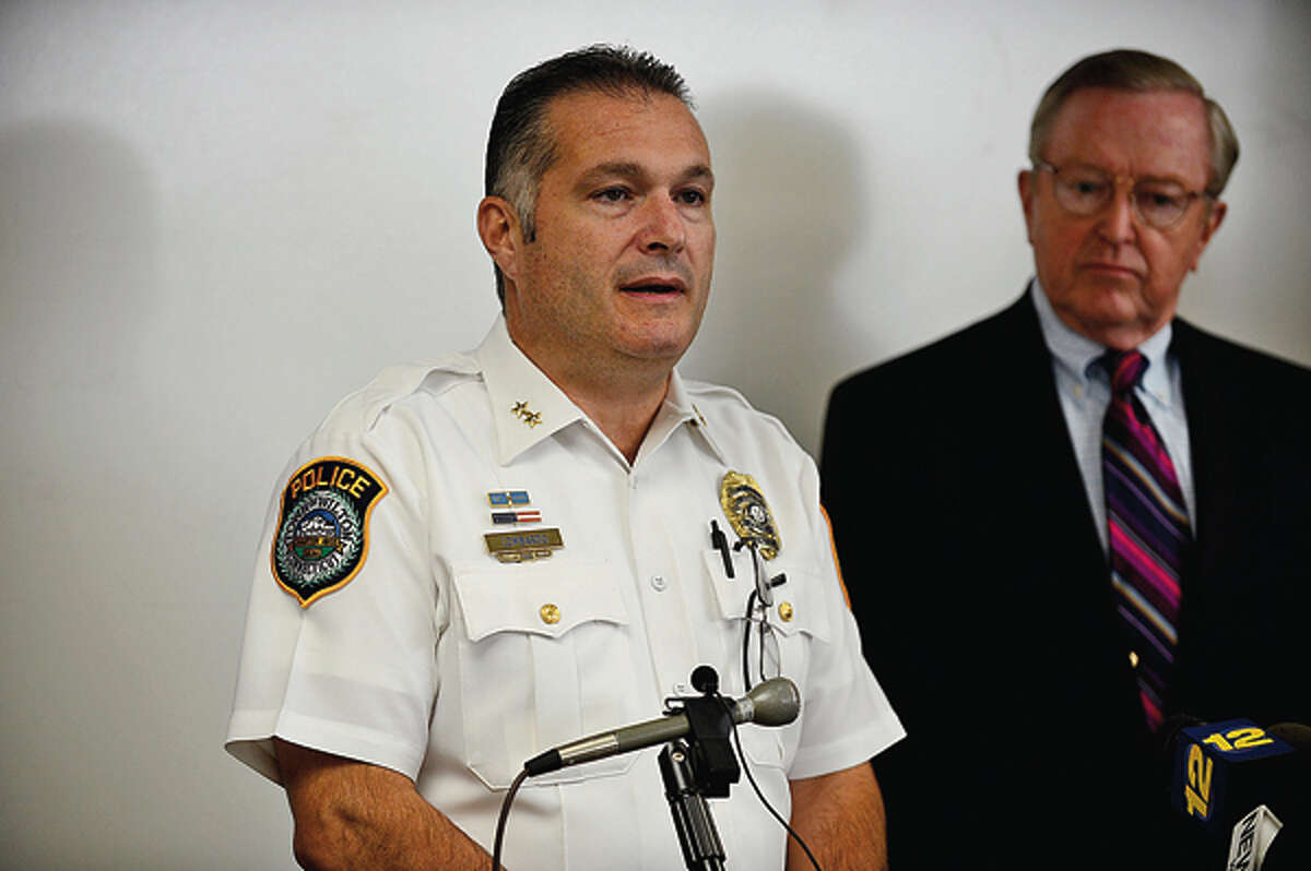 Wilton Police Chief Michael Lomabardo holds a press conference with first selectman Bill Brennan and police commisioners to announce an arrest in the Nick Parisot killing. Hour photo / Erik Trautmann
