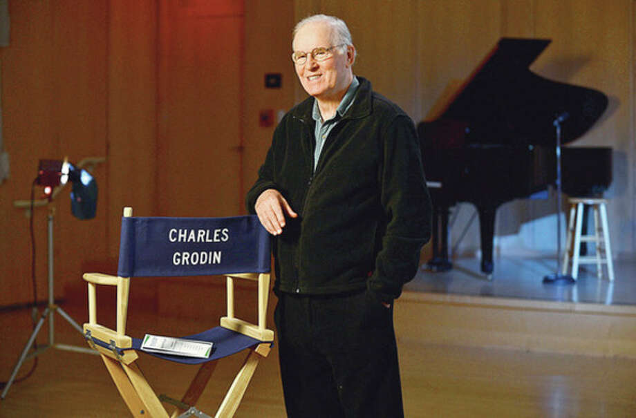 Hour photos / Erik TrautmannWilton resident and renown actor Charles Grodin, seen above and below, films a public service announcement at the Wilton Public Library Thursday for Laurel House, a mental health facility in Stamford. / (C)2012, The Hour Newspapers, all rights reserved