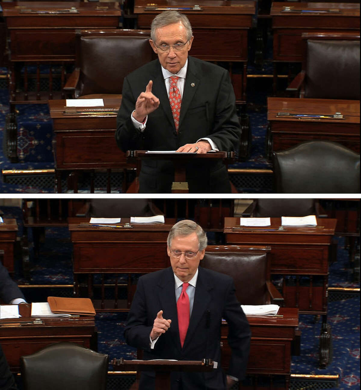 FILE - In this combination of July 11, 2013, file images from Senate Television Majority Leader Harry Reid, D-Nev., top, and Republican leader, Sen. Mitch McConnell, R-Ky., speak on the floor of the Senate on Capitol Hill in Washington. Democrats threatened to change Senate rules unilaterally if Republicans block yes-or-no votes on several of President Barack Obama?•s top-level nominees. Reid accused Republicans of trying to deny Obama the right to have his team in place, and accused McConnell of failing to live up to his commitments to allow votes on all nominees, except under extraordinary circumstances. Moments later, McConnell said Reid was misquoting him and at the same time failing to honor his word not to change the rules of the Senate unilaterally. (AP Photo/Senate TV, Files)