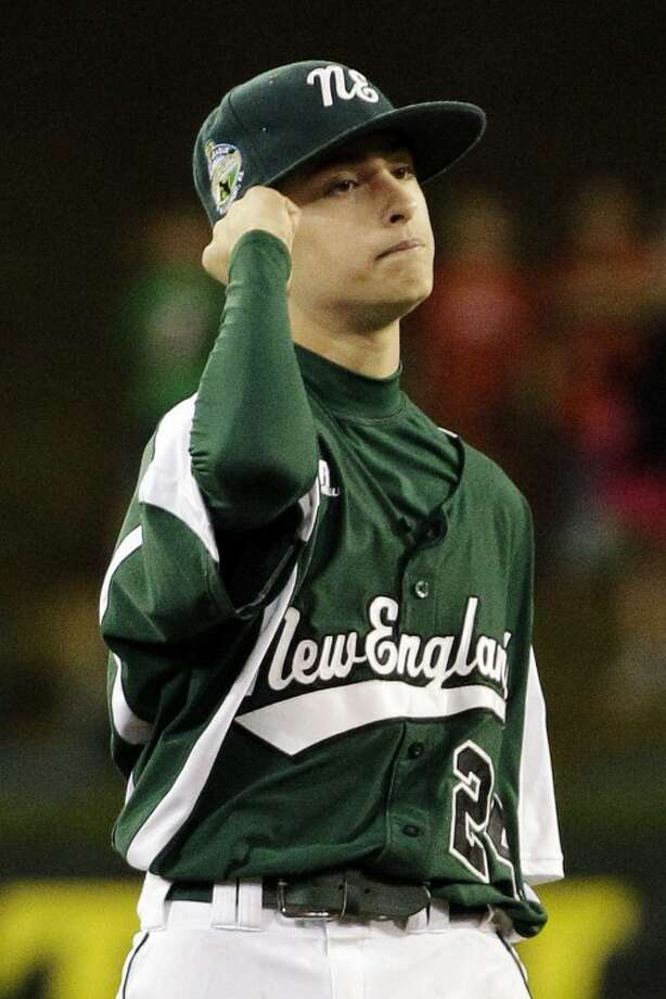 Fairfield, Conn., pitcher Will Lucas pumps his fist after getting the final out of a no hitter against New Castle, Ind., in an elimination baseball game at the Little League World Series tournament in South Williamsport, Pa., Monday, Aug. 20, 2012. Connecticut won 4-0. (AP Photo/Gene J. Puskar)