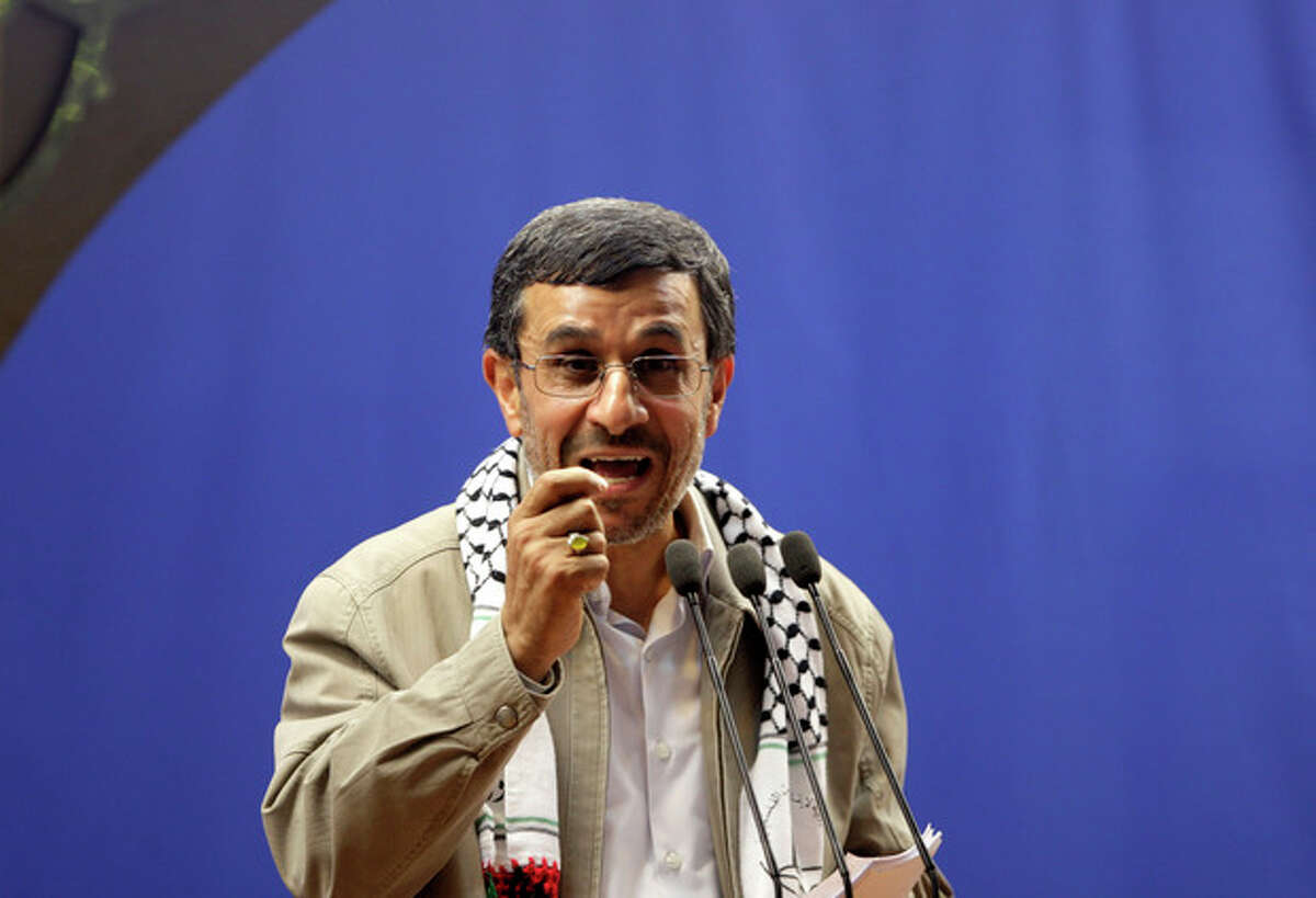 Ap photo Iranian President Mahmoud Ahmadinejad speaks at the conclusion of an annual pro-Palestinian rally, marking Quds (Jerusalem) Day, on the last Friday of the holy month of Ramadan, at the Tehran University campus, in Tehran, Iran, Friday, Aug. 17.