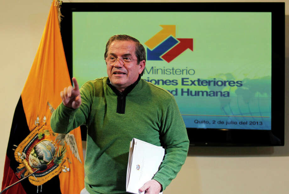 Ecuador's Foreign Minister Ricardo Patino gestures after a press conference in Quito, Ecuador, Tuesday, July 2, 2013. Patino said Ecuador is still considering the request for political asylum by NSA leaker Edward Snowden, but acknowledged that the former agent is under the jurisdiction of Russia's government. (AP Photo/Dolores Ochoa) / AP