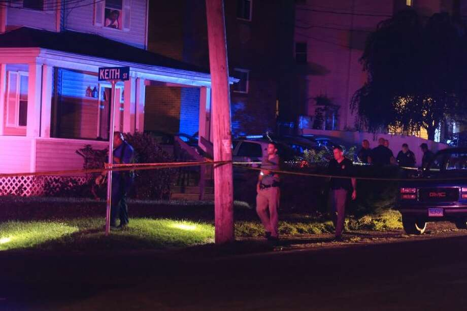 Police investigate shooting on Taylor Avenue Thursday night.