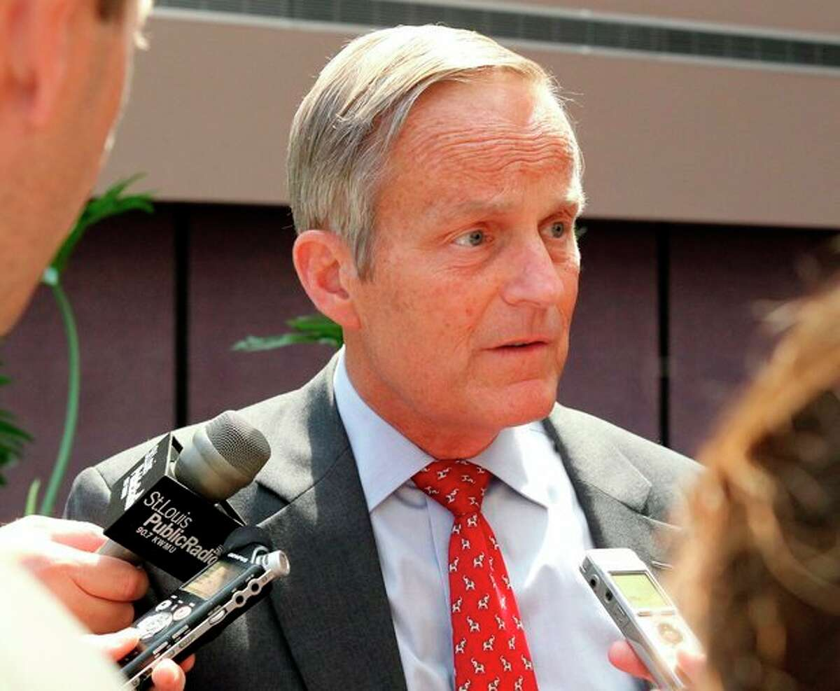 """FILE - This Aug. 10, 2012 file photo shows Todd Akin, Republican candidate for U.S. Senator from Missouri taking questions after speaking at the Missouri Farm Bureau candidate interview and endorsement meeting in Jefferson City, Mo. Akin fought to salvage his Senate campaign Monday, Aug. 20, 2012, even as members of his own party turned against him and a key source of campaign funding was cut off in outrage over the Missouri congressman's comments that women are able to prevent pregnancies in cases of """"legitimate rape."""" (AP Photo/St. Louis Pos-Dispatch, Christian Gooden)"""