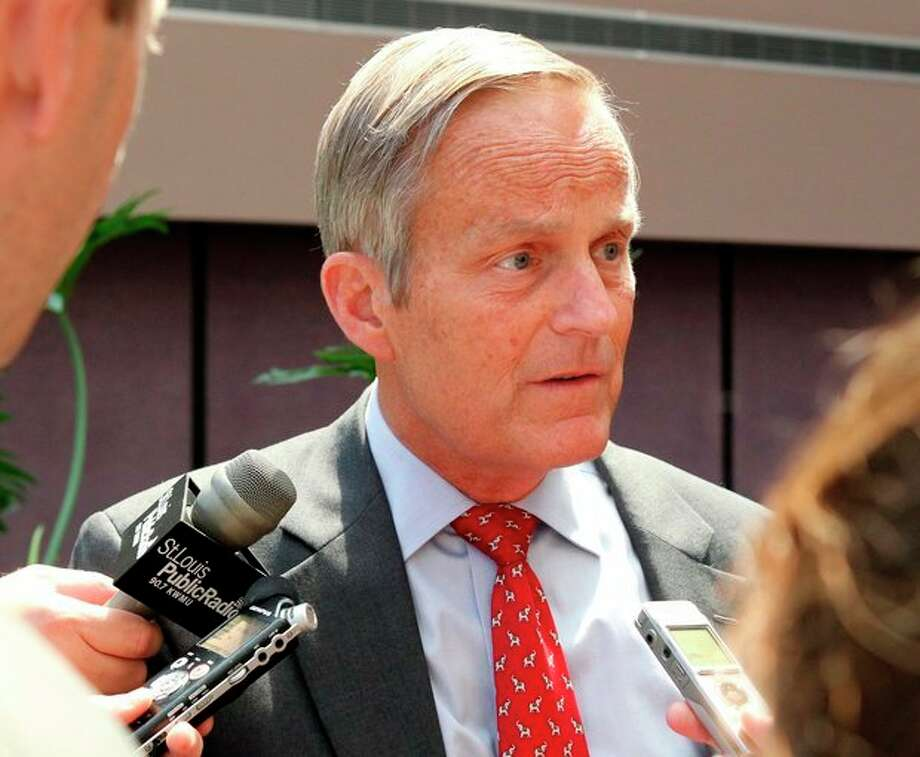 "FILE - This Aug. 10, 2012 file photo shows Todd Akin, Republican candidate for U.S. Senator from Missouri taking questions after speaking at the Missouri Farm Bureau candidate interview and endorsement meeting in Jefferson City, Mo. Akin fought to salvage his Senate campaign Monday, Aug. 20, 2012, even as members of his own party turned against him and a key source of campaign funding was cut off in outrage over the Missouri congressman's comments that women are able to prevent pregnancies in cases of ""legitimate rape."" (AP Photo/St. Louis Pos-Dispatch, Christian Gooden) / St. Louis Post-Dispatch"