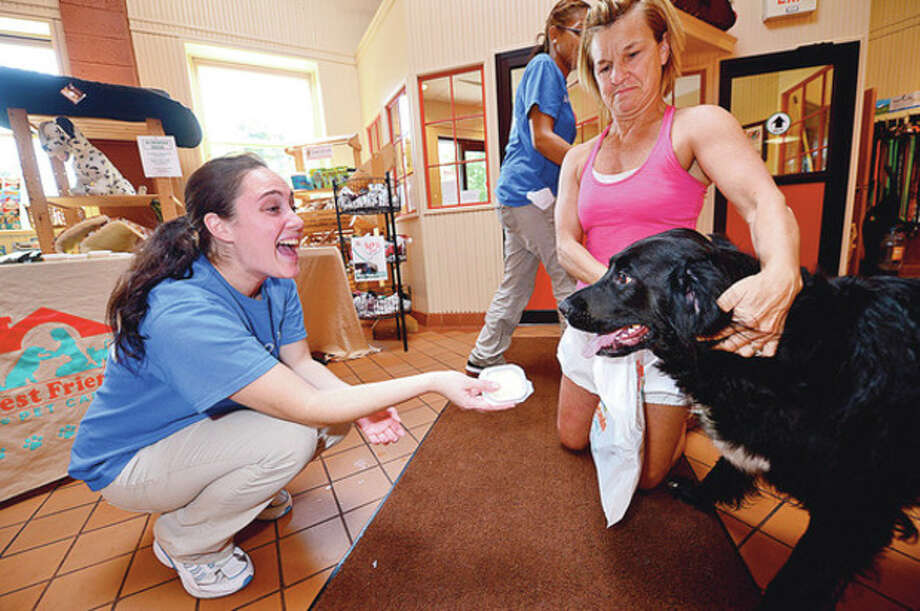 Hour photo / Erik TrautmannMia Thomas, manager of Best Friends Pet Care in Norwalk, helps celebrate National Dog Day by giving away free treats Saturday to customers like Oakley and his owner, Kim Holland. / (C)2012, The Hour Newspapers, all rights reserved