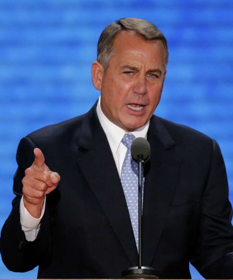 House Speaker John Boehner of Ohio addresses the Republican National Convention in Tampa, Fla., on Tuesday, Aug. 28, 2012. (AP Photo/J. Scott Applewhite) / AP