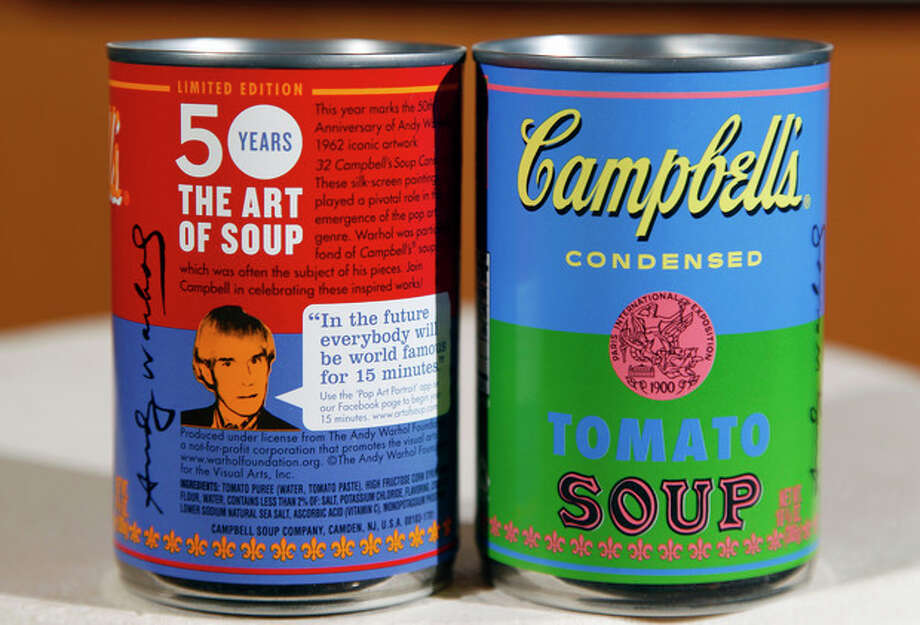In this photograph taken Aug. 24, 2012, new limited edition Campbell's tomato soup cans with art and sayings by artist Andy Warhol are seen at Campbell Soup Company in Camden, N.J. Campbell plans to introduce the special-edition cans of its condensed tomato soup bearing labels reminiscent of the pop artist's paintings at Target stores starting Sunday, Sept. 2, 2012. (Photo/Mel Evans) / AP