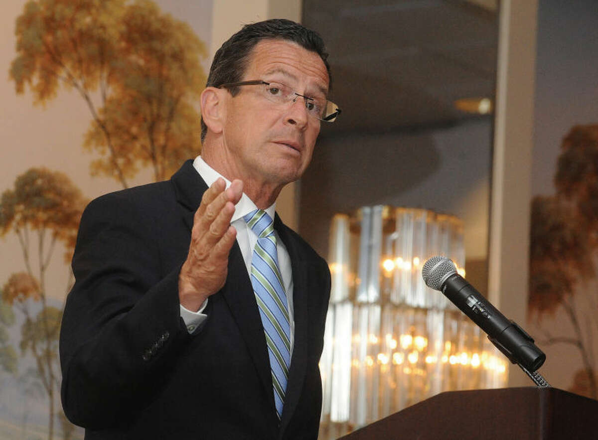 Gov. Dannel P. Malloy addresses an audience of more than 200 during the Stamford Downtown Special Services District 21st annual meeting, held Tuesday, June 25 at the Stamford Marriott Hotel & Spa. The DSSDevent is held annually so that officers may handle the organization's business and highlight the accomplishments made over the past year.