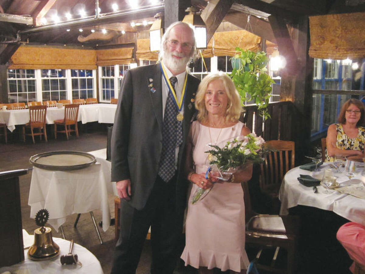 The Wilton Rotary Club recently elected Paul Burnham (left) as its new president during the organization's 32nd Annual Celebration Dinner. Pictured alongside Burnham is Karen Strickland, the previous interim president of the Wilton Rotary Club.