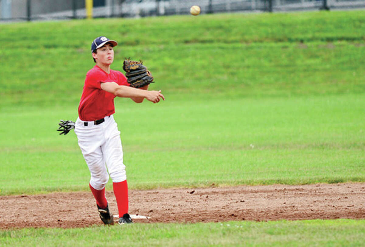 Colin Kahal practices with the Wilton Babe Ruth baseball 13-year-old All-Stars Tuesday. Hour photo / Erik Trautmann