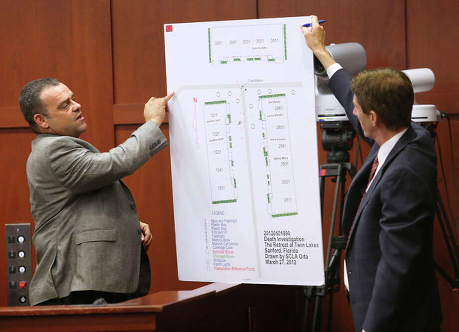 Defense attorney Mark O'Mara, right, questions Sanford, Fla., police officer Chris Serino during the George Zimmerman trial in Seminole circuit court, Tuesday, July 2, 2013 in Sanford. Zimmerman has been charged with second-degree murder for the 2012 shooting death of Trayvon Martin. (AP Photo/Orlando Sentinel, Joe Burbank, Pool) / Pool Orlando Sentinel