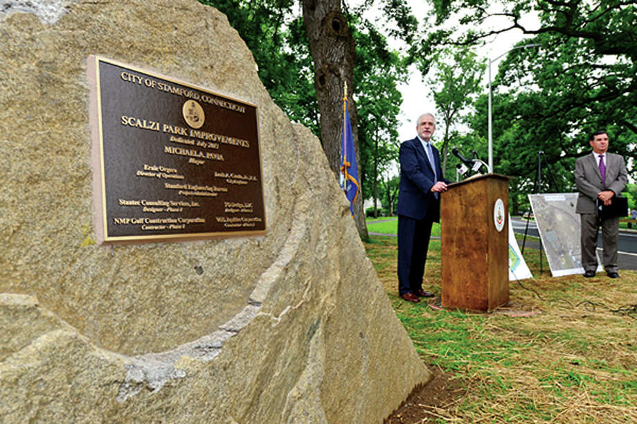 President of the Board of Representatives, Randall Sigen speaks on Thursday when the renovated Scalzi Park was officially reopened. Hour photo / Erik Trautmann / (C)2013, The Hour Newspapers, all rights reserved