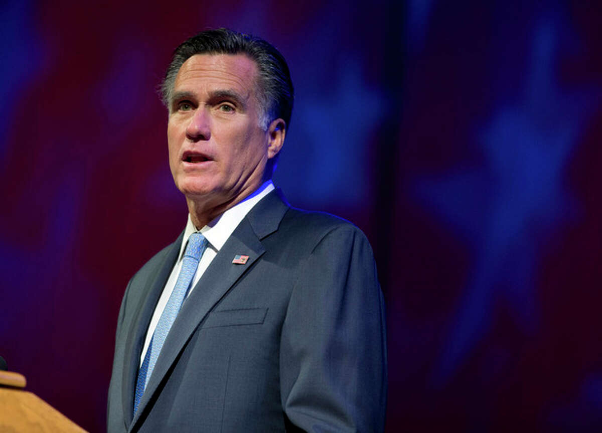 Republican presidential candidate, former Massachusetts Gov. Mitt Romney speaks to the American Legion National Convention on Wednesday, Aug. 29, 2012 in Indianapolis. (AP Photo/Evan Vucci)