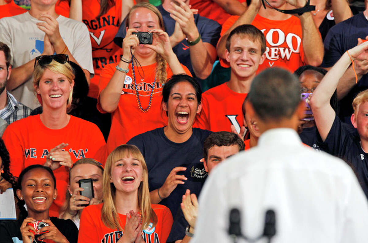 Students and supporters cheer President Barack Obama during a rally in Charlottesville, Va., Wednesday, Aug. 29, 2012. ( AP Photo/Steve Helber)