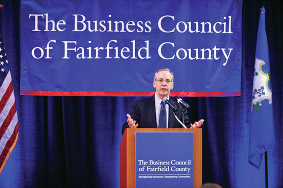 "William C. Dudley, President & CEO, The Federal Reserve Bank of New York, the keynote speaker at ""A View from the Federal Reserve Bank of New York: An Outlook for the U.S. and Regional Economies,"" The Business Council of Fairfield County luncheon at the Sheraton Stamford Hotel Tuesday .Hour photo / Erik Trautmann / (C)2013, The Hour Newspapers, all rights reserved"