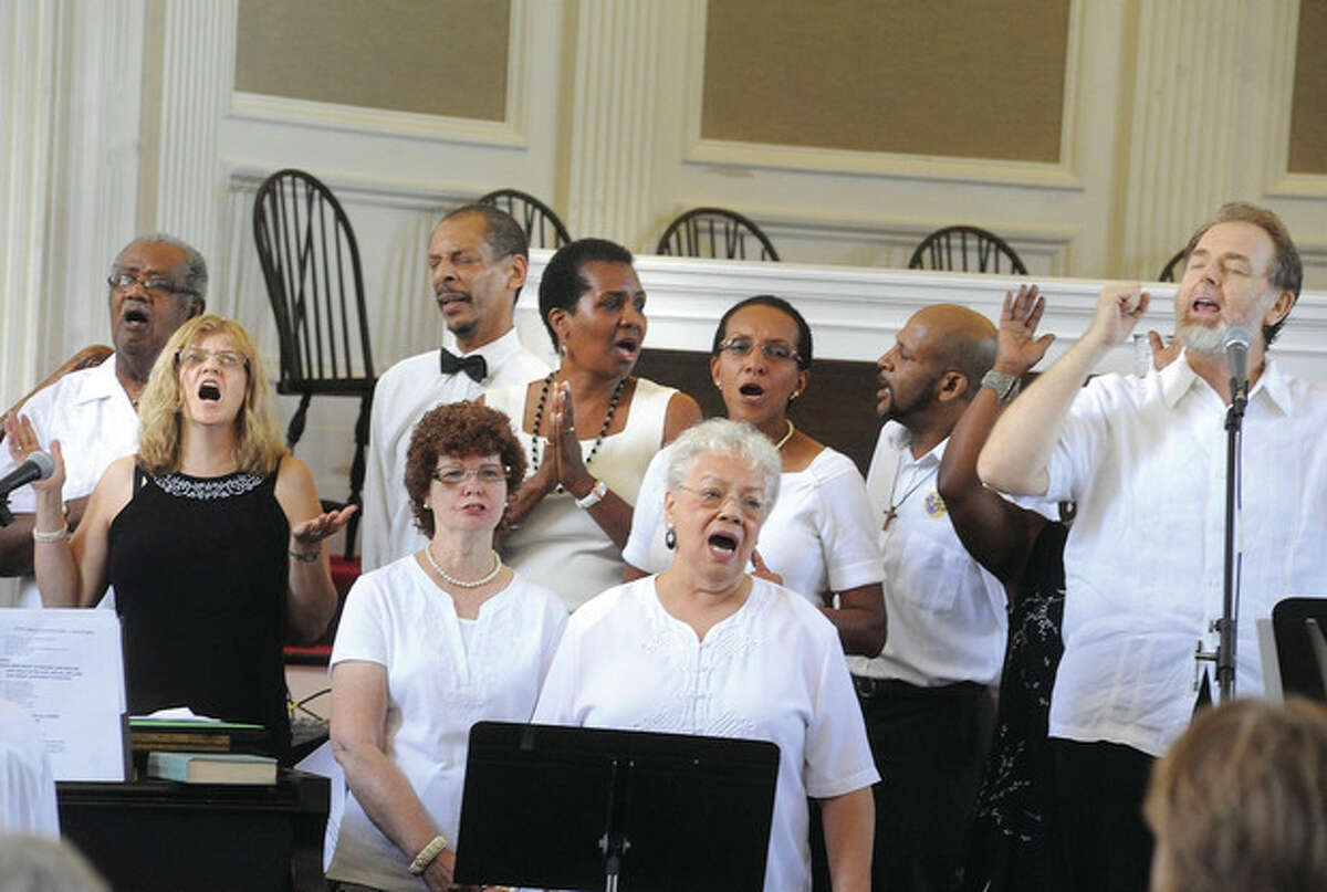 The gospel Sunday choir celebration at the First Congregational Church in Norwalk. hour photo/Matthew Vinci