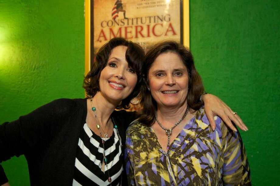 "Co-founders of ""Constituting America"" actress Janine Turner and political organizer Cathy Gillespie at the world premiere of the documentary ""We the People 9-17"" at the State Cinema in Stamford on June 10, 2013"
