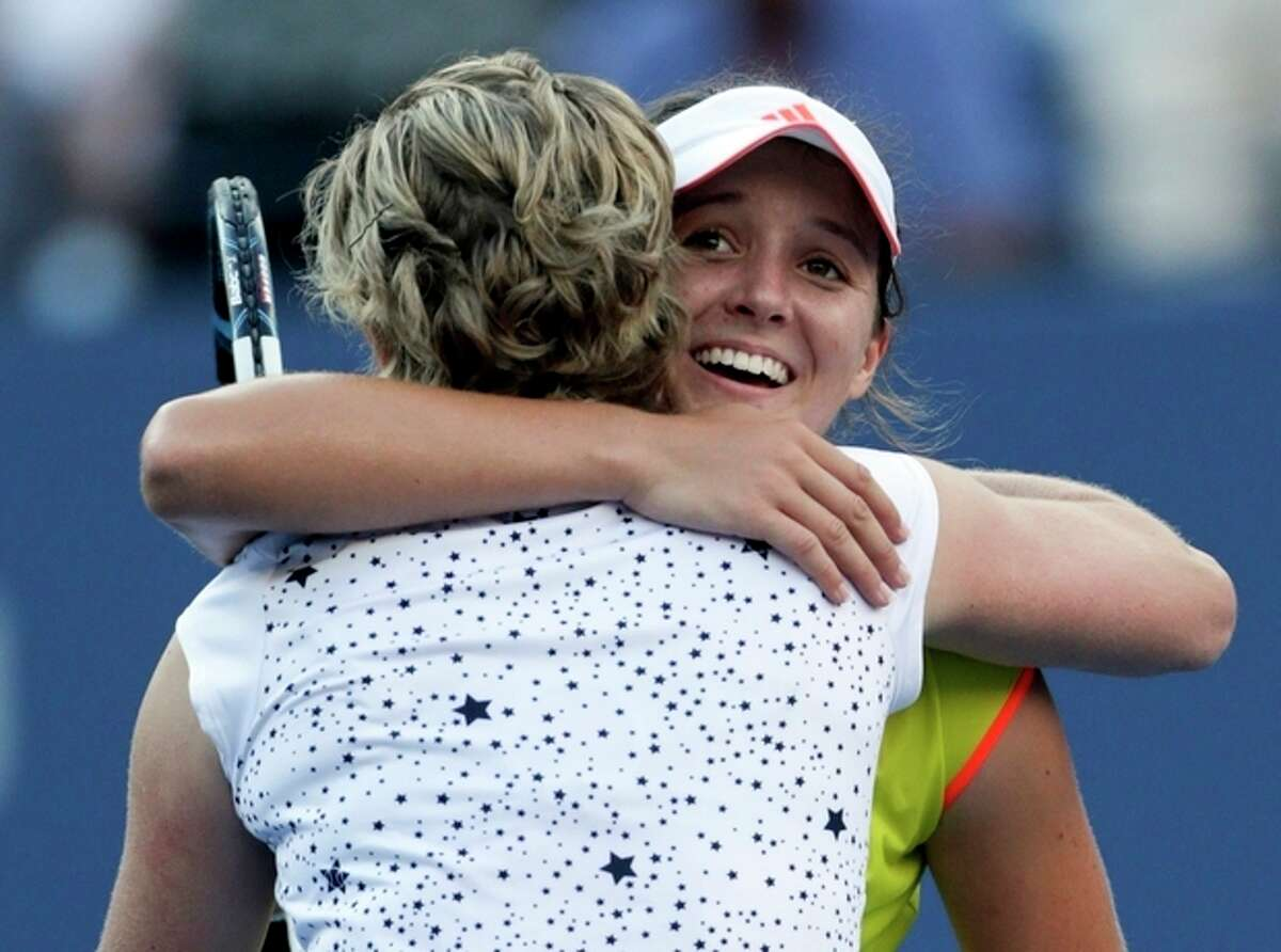 Laura Robson of Great Britain reacts after beating Kim Clijsters of Belgium in the second round of play at the 2012 US Open tennis tournament, Wednesday, Aug. 29, 2012, in New York. (AP Photo/Charles Krupa)