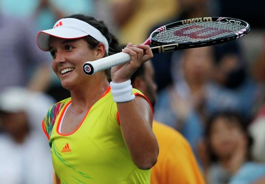 Laura Robson of Great Britain celebrates after beating Kim Clijsters of Belgium in the second round of play at the 2012 US Open tennis tournament, Wednesday, Aug. 29, 2012, in New York. (AP Photo/Mel C. Evans) / AP
