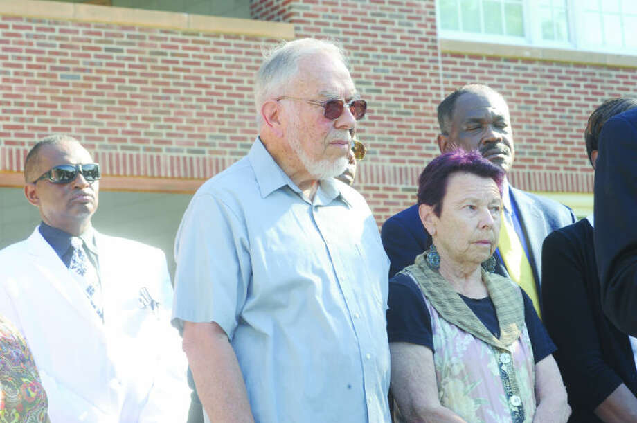 Former Norwalk Councilman William Krummel and wife Regina Sunday at Norwalk City Hall for a press conference on the incident that occured last week between the two and Norwalk Democratic Chair Amanda Brown. Hour photo/Matthew Vinci