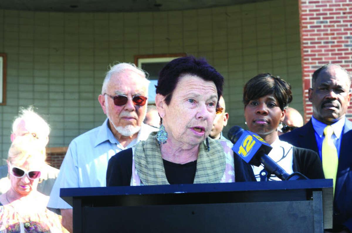 Regina Krummel speaks Sunday at Norwalk City Hall about the incident that occured last week between her husband, former Norwalk Councilman William Krummel and Norwalk Democratic Town Chair Amanda Brown. Hour photo/Matthew Vinci