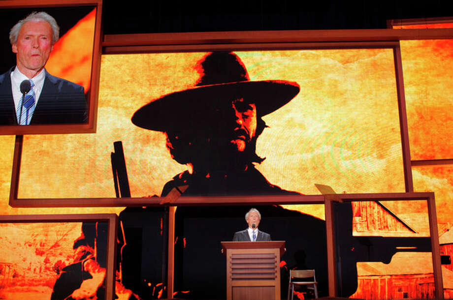 Actor Clint Eastwood addresses the Republican National Convention in Tampa, Fla., on Thursday, Aug. 30, 2012. (AP Photo/Charles Dharapak) / AP