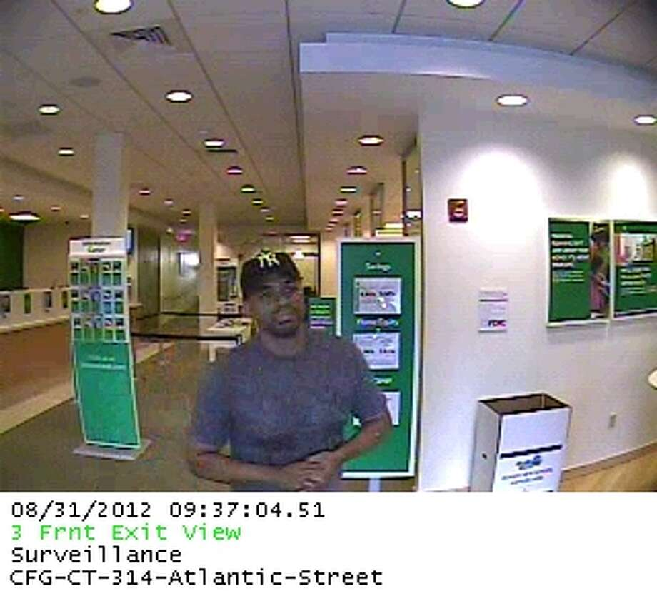 A video still of the Citizens Bank robbery suspect, captured on the downtown Stamford bank's surveillance camera. Photo courtesy of the Stamford Police Department.