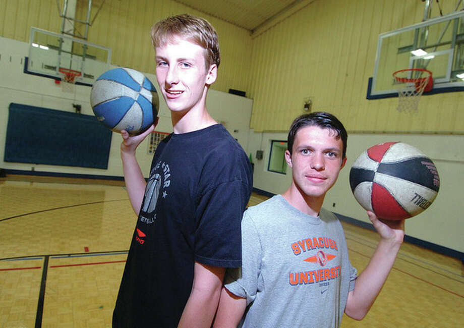 Hour photo / Alex von KleydorffPeter Ciaccio (left) and Matthew Przybysz at the Wilton Family Y. / 2012 The Hour Newspapers