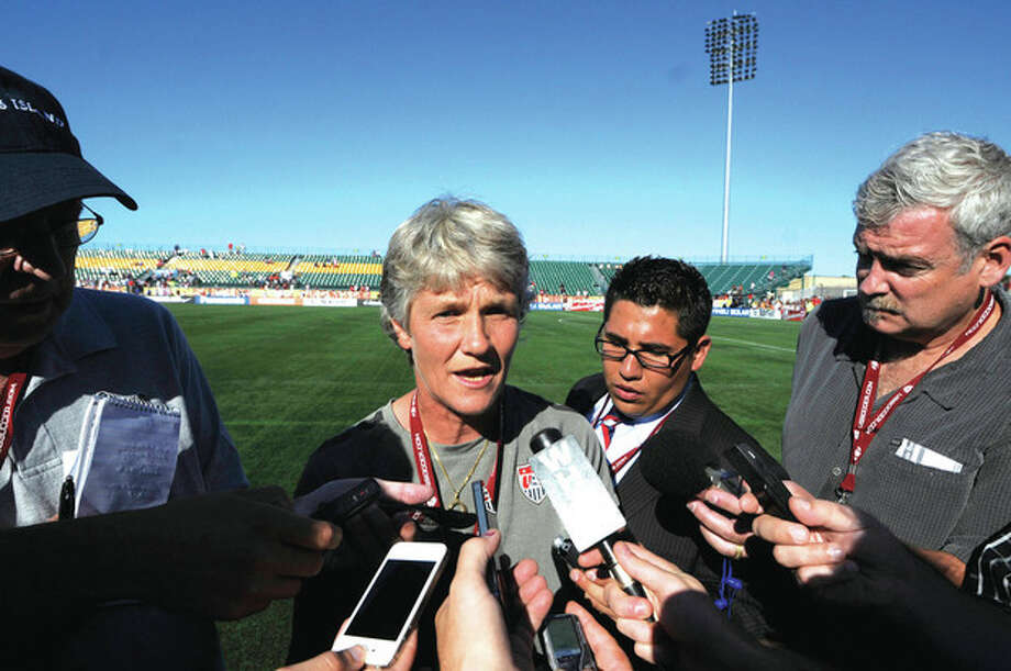 AP photoUnited States women's coach Pia Sundhage speaks to the media after her team beat Costa Rica in a friendly Saturday in Rochester, N.Y. Sundhage said before the game she would be leaving the team after the completion of its current tour to return to her native Sweden. / FR155671 AP