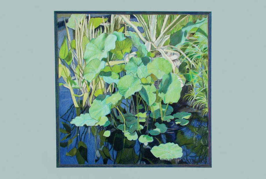 "Pictured is ""Pond and Pads"" by artist Louise Flax. Flax and photographer Garvin Burke will present ""Natural Order"" at Wilton Library, Friday, June 7, from 6-7:30 p.m. More than 60 works will feature their perspectives on nature. The majority of the works will be available for purchase with proceeds benefiting the library."