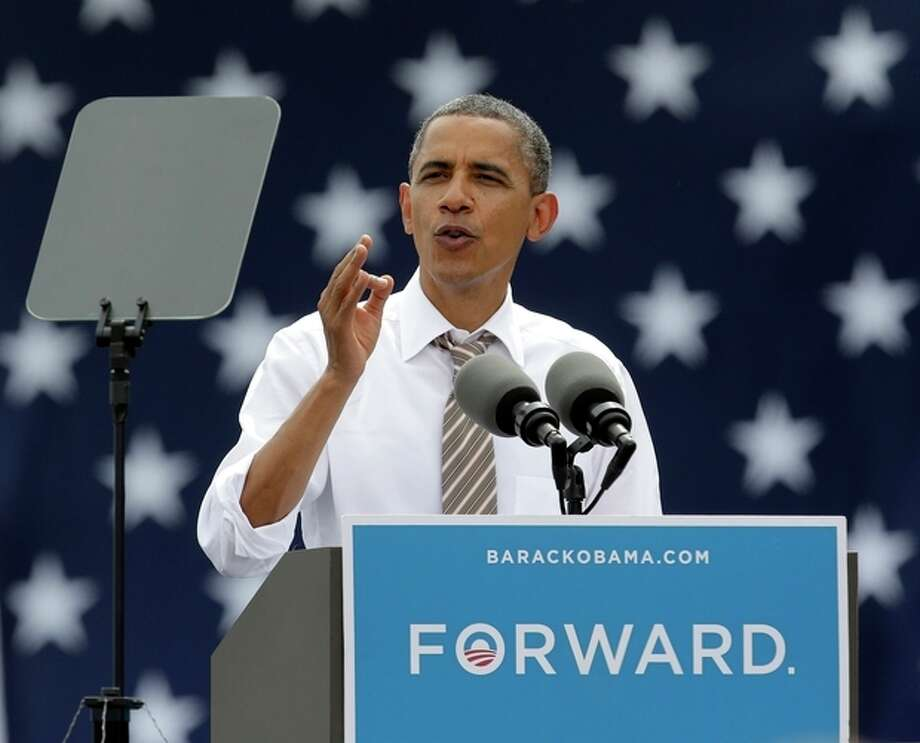 President Barack Obama speaks during a campaign stop at the Living History Farms Saturday, Sept. 1, 2012, in Des Moines, Iowa. (AP Photo/Charlie Riedel) / AP
