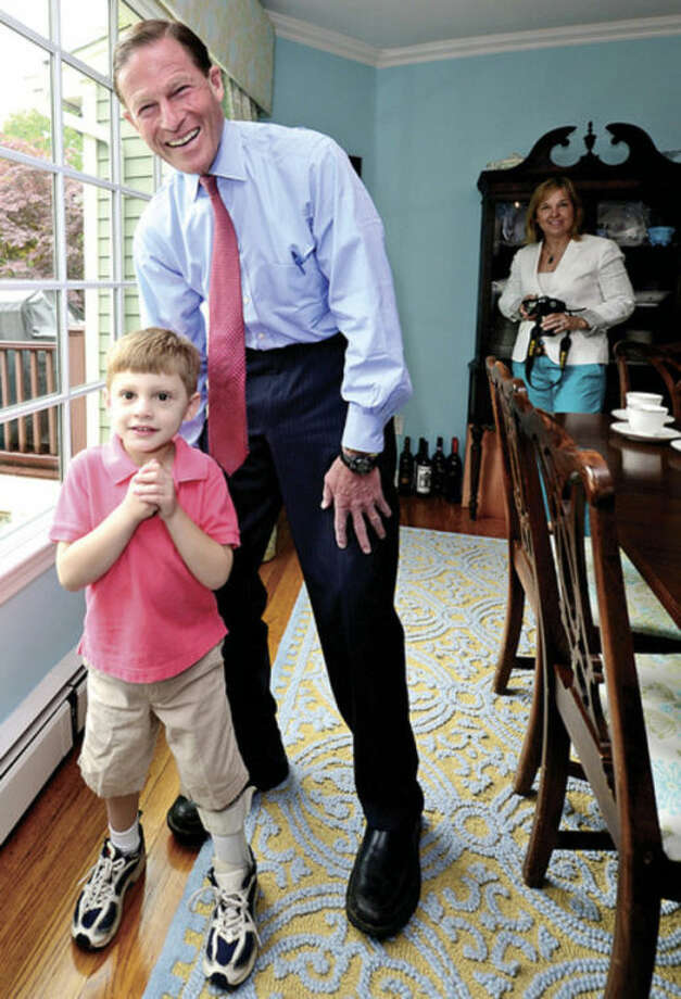 """Hour photo / Erik TrautmannU.S. Sen. Richard Blumenthal visits 5-year-old Patrick """"Patch"""" Angerame, who suffered a stroke before he was born, at the family's home to advocate for pediatric stroke awareness."""