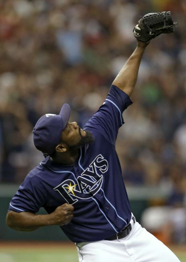 Tampa Bay Rays relief pitcher Fernando Rodney reacts after retiring the New York Yankees during the ninth inning of a baseball game, Monday, Sept. 3, 2012, in St. Petersburg, Fla. The Rays won the game 4-3. (AP Photo/Chris O'Meara)