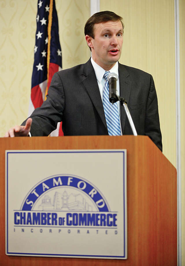 US Senator Chris Murphy addresses members of the Stamford Chamber of Commerce during the groups monthy luncheon Wednesday at the Sheraton. Hour photo / Erik Trautmann / (C)2013, The Hour Newspapers, all rights reserved