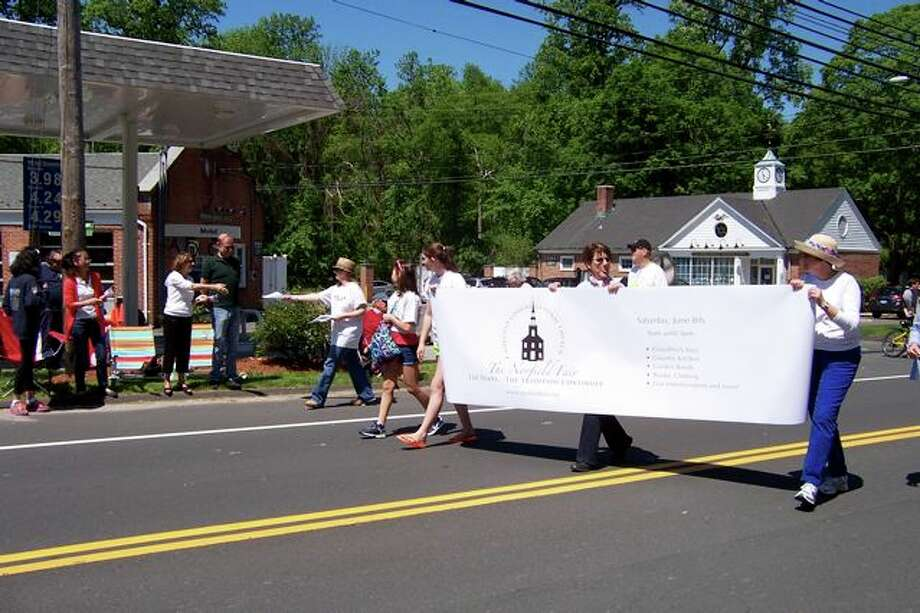 Norfielders carry the 2013 Norfield Fair banner this past Monday in Weston's Memorial Day Parade. Photo credit: Richard Troxell
