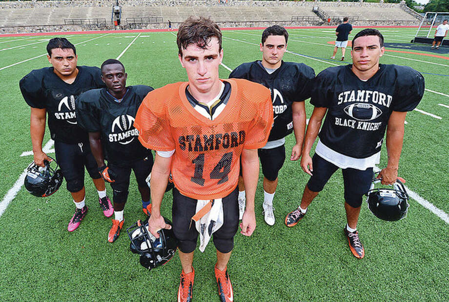Photo by Erik TrautmannStamford High football captains, from left, are Rodrigo DeNapoli, Jerry Aime, Tyler Kane, Frank Calandro, and Miguel Nieto. The Black Knights are hoping for another season as successful as last year's 7-2 campaign.