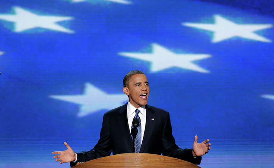 President Barack Obama addresses the Democratic National Convention in Charlotte, N.C., on Thursday, Sept. 6, 2012. (AP Photo/J. Scott Applewhite) / AP