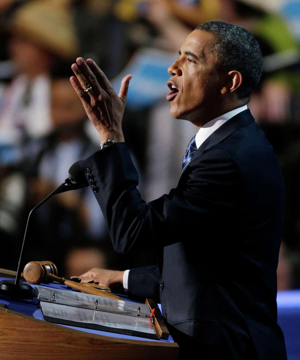 President Barack Obama speaks to delegates at the Democratic National Convention in Charlotte, N.C., on Thursday, Sept. 6, 2012. (AP Photo/Lynne Sladky)