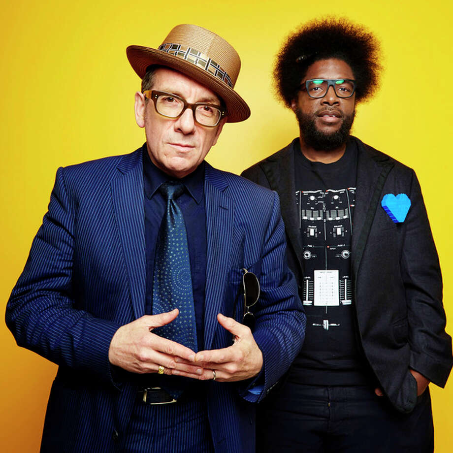 "From left, English singer-songwriter Elvis Costello poses for a portrait with drummer Ahmir ""Questlove"" Thompson of ""The Roots,"" in promotion of their upcoming album ""Wise Up Ghost,"" Tuesday, May 21, 2013, in New York. (Photo by Dan Hallman/Invision/AP) / Invision"