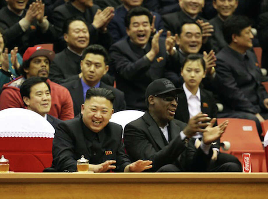 "This undated publicity image released by HBO shows former NBA basketball player Dennis Rodman, right, with North Korea's Kim Jong Un at a basketball game from an episode of the documentary series ""Vice."" The season final episode will air on on June 14 at 11 p.m. EST on HBO. (AP Photo/Vice.com via HBO) / Vice.com via HBO"