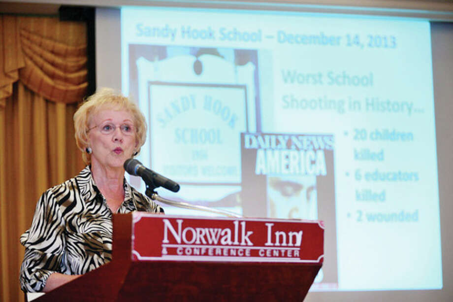"Newtown First Selectwoman Patricia Llodra speaks during the Northeastern Economic Developers Association ""After the Disaster"" seminar at the Norwalk Inn Tuesday morning.Hour photo / Erik Trautmann / (C)2013, The Hour Newspapers, all rights reserved"