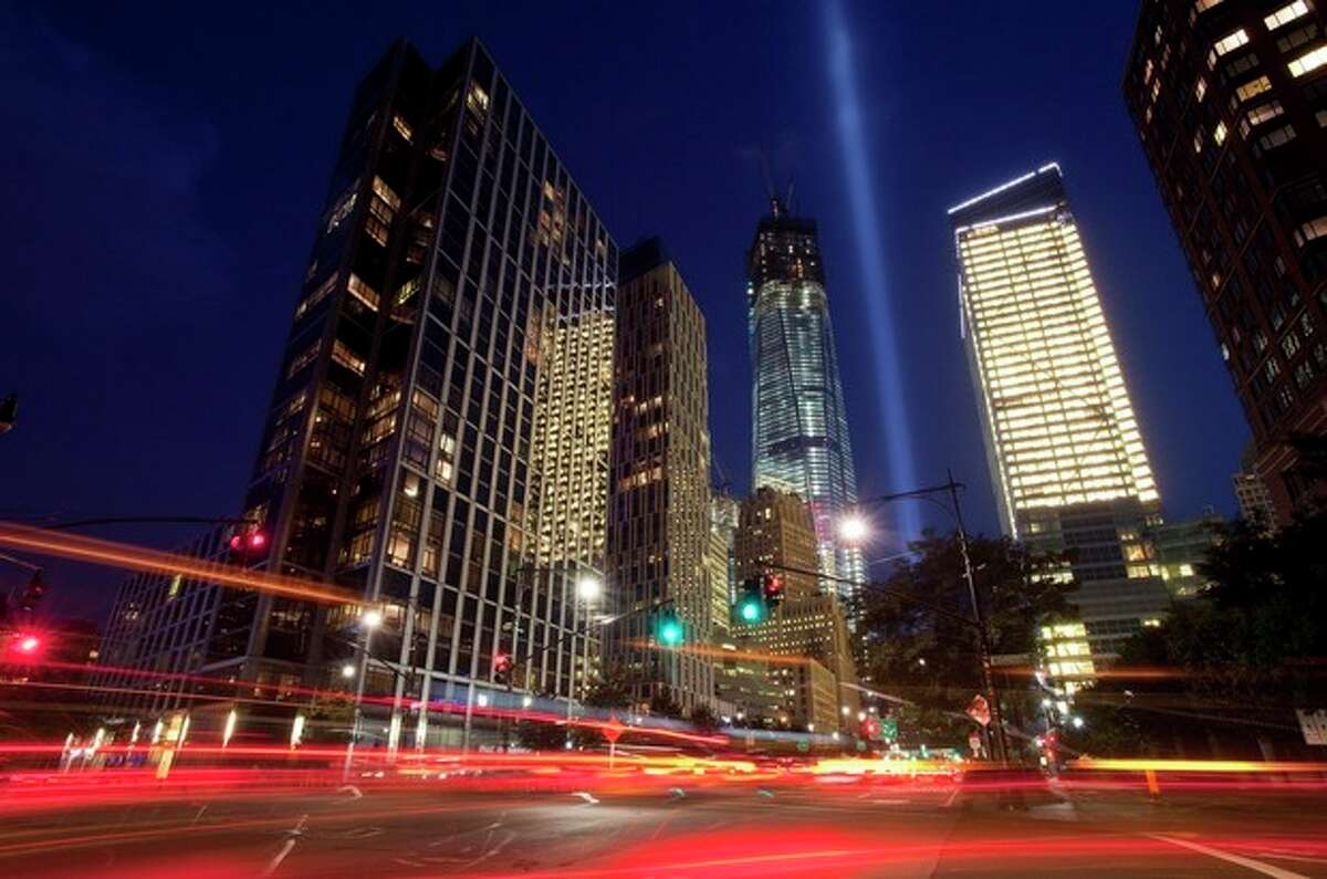 A test of the Tribute in Light shines skyward over lower Manhattan, Friday, Sept. 7, 2012 in New York. The tribute will shine the night of Tuesday, Sept. 11 over New York, eleven years after the terrorist attacks. (AP Photo/Mark Lennihan)