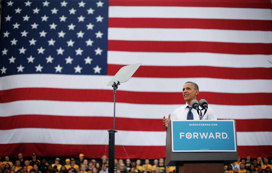 President Barack Obama speaks during a campaign event at the University of Iowa, Friday, Sept. 7, 2012 in Iowa City, Iowa. (AP Photo/Pablo Martinez Monsivais) / AP