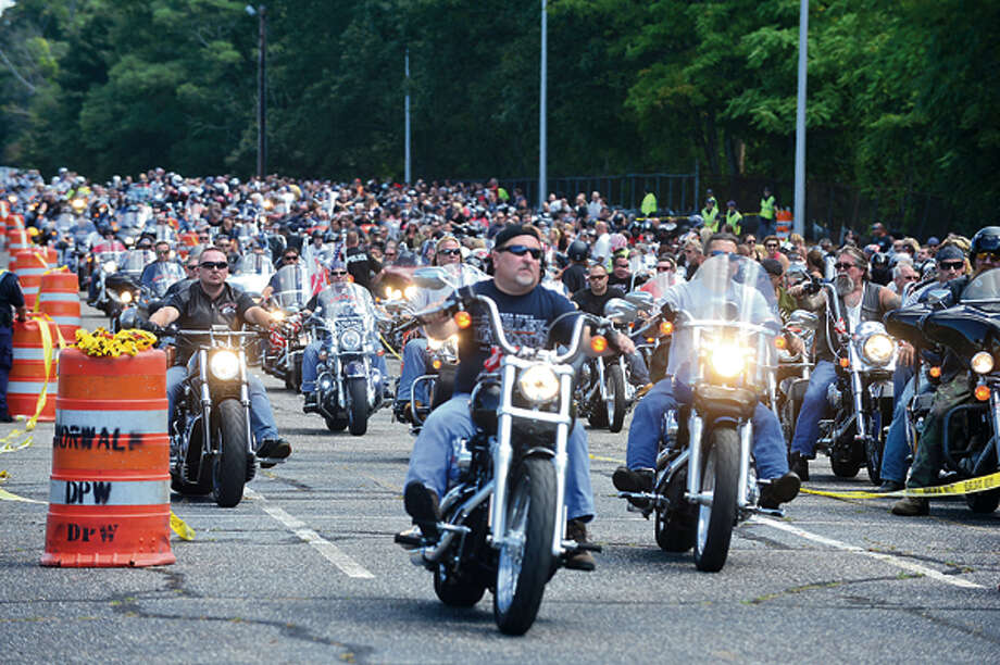 The United Ride tribute started out from Norden Park Sunday for the 12th annual motorcycle ride to benefit first responders and families affected by 9/11. Hour photo / Erik Trautmann / (C)2012, The Hour Newspapers, all rights reserved