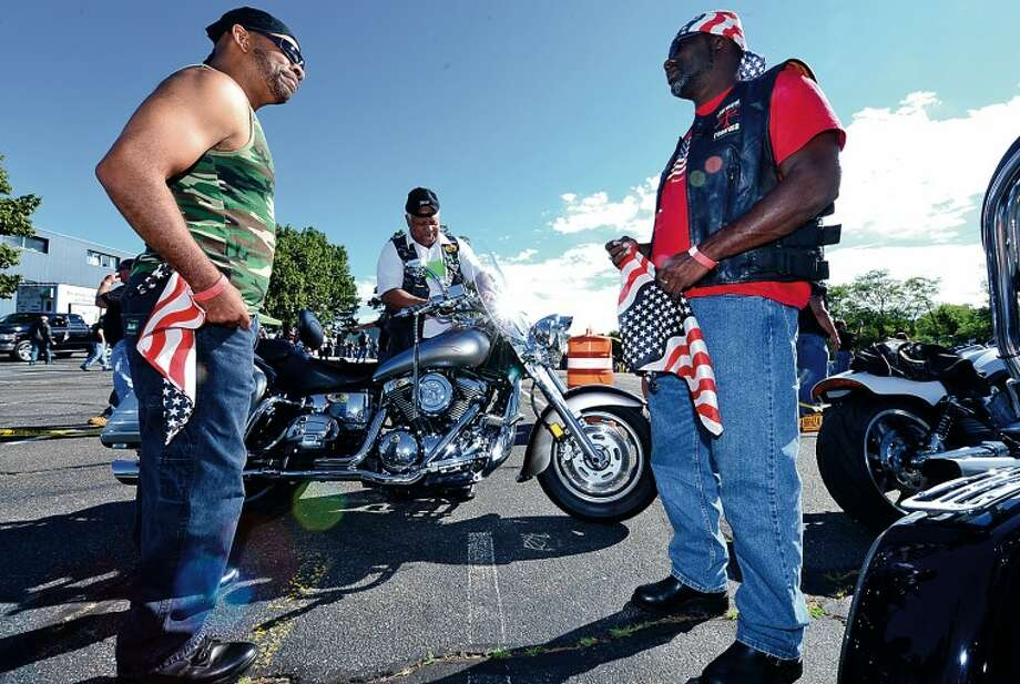 Keith Myrick, Butch Peters and Anthony Jones and The CT United Ride tribute started out from Norden ParkSunday for the 12th annual motorcycle ride to benefit first responders and families affected by 9/11. Hour photo / Erik Trautmann