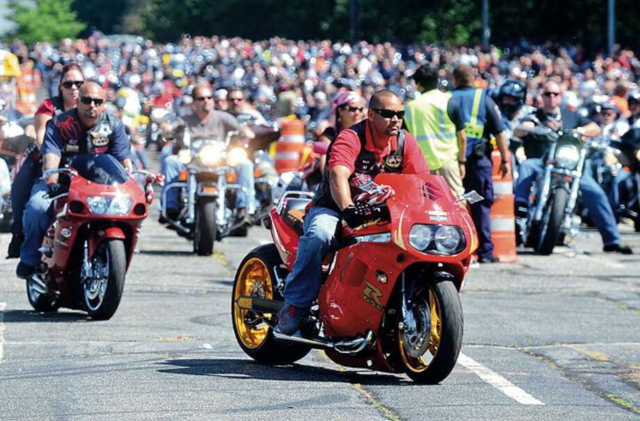 The CT United Ride tribute started out from Norden Park Sunday for the 12th annual motorcycle ride to benefit first responders and families affected by 9/11. Hour photo / Erik Trautmann / (C)2012, The Hour Newspapers, all rights reserved